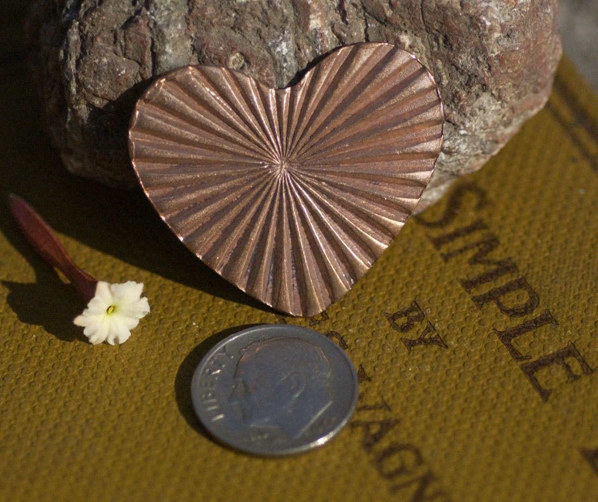 Heart Ruffled Pattern Classic Shape 33mm x 30mm 20g Blanks Cutout for Enameling Stamping Texturing Variety of Metals