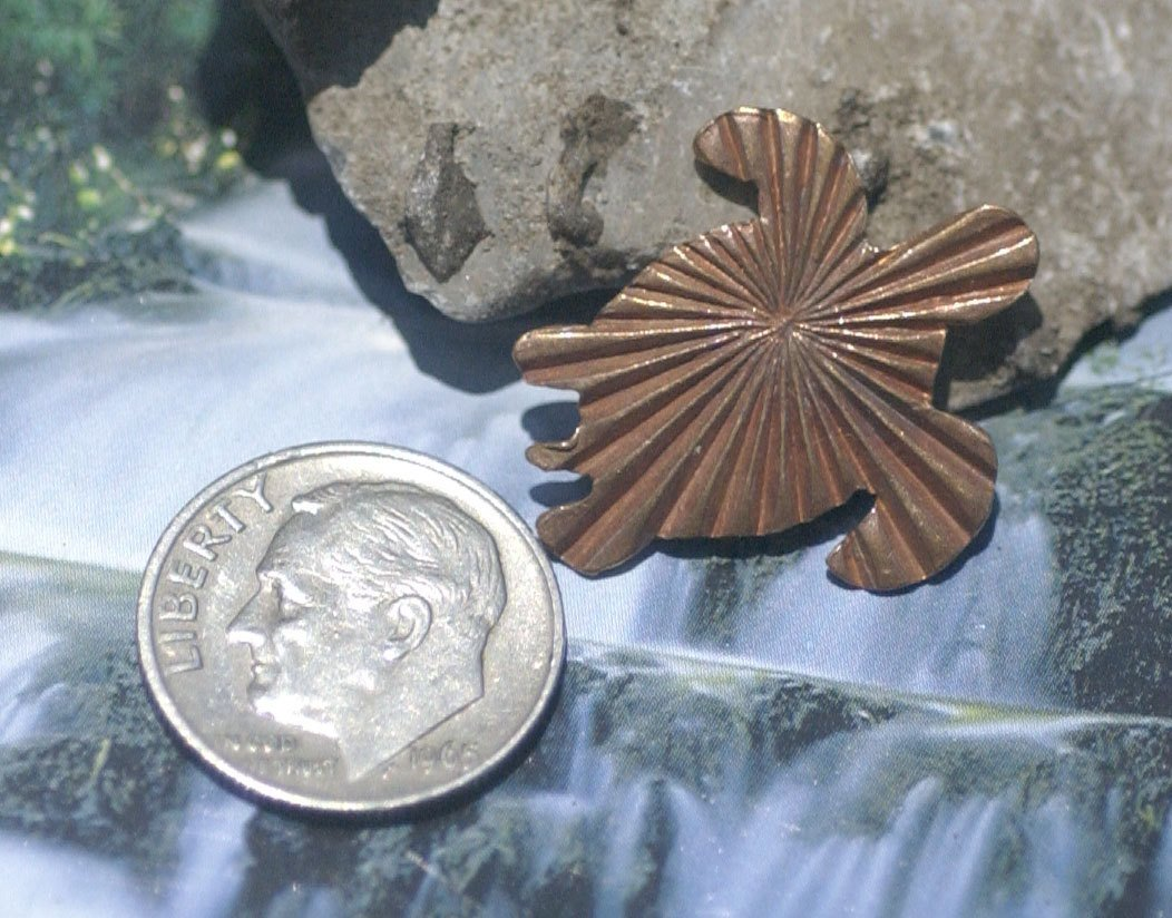 Ruffled Pattern Turtle 20mm x 23mm for Blanks Enameling Stamping Texturing Variety of Metals