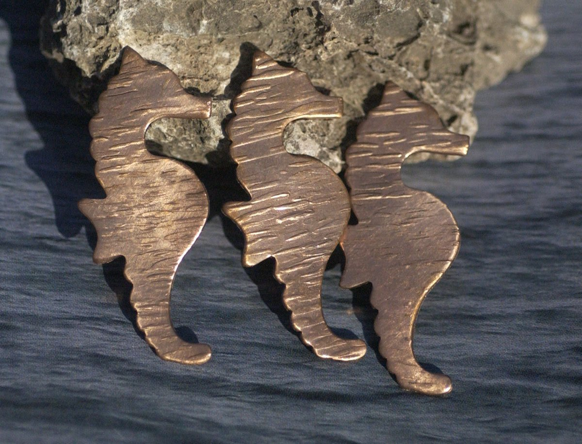 Seahorse Woodgrain Textured 20g Blanks Enameling Stamping Texturing 100% Copper Blank Variety of Metals