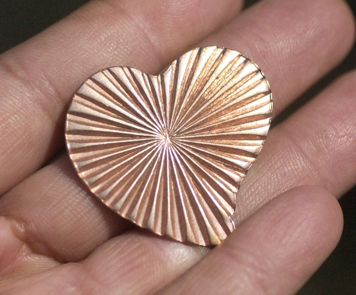 Ruffled Pattern Heart Whimsy 30mm x 32mm Blanks for Enameling Metalworking Stamping Texturing Blanks Variety of Metals