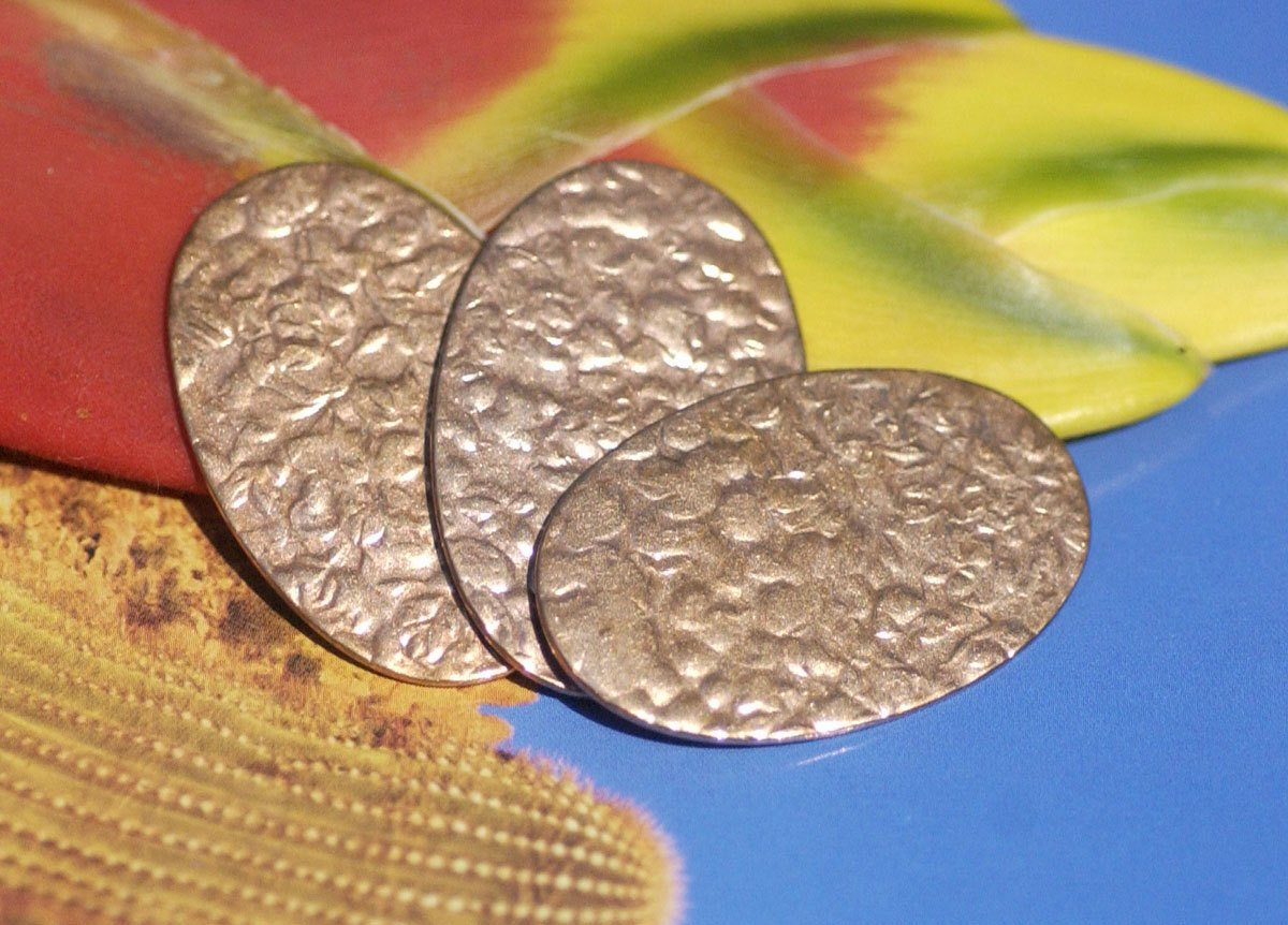 Oval Antique Hammered 34mm x 22mm  Blanks Shape for Enameling Stamping Texturing Variety of Metals