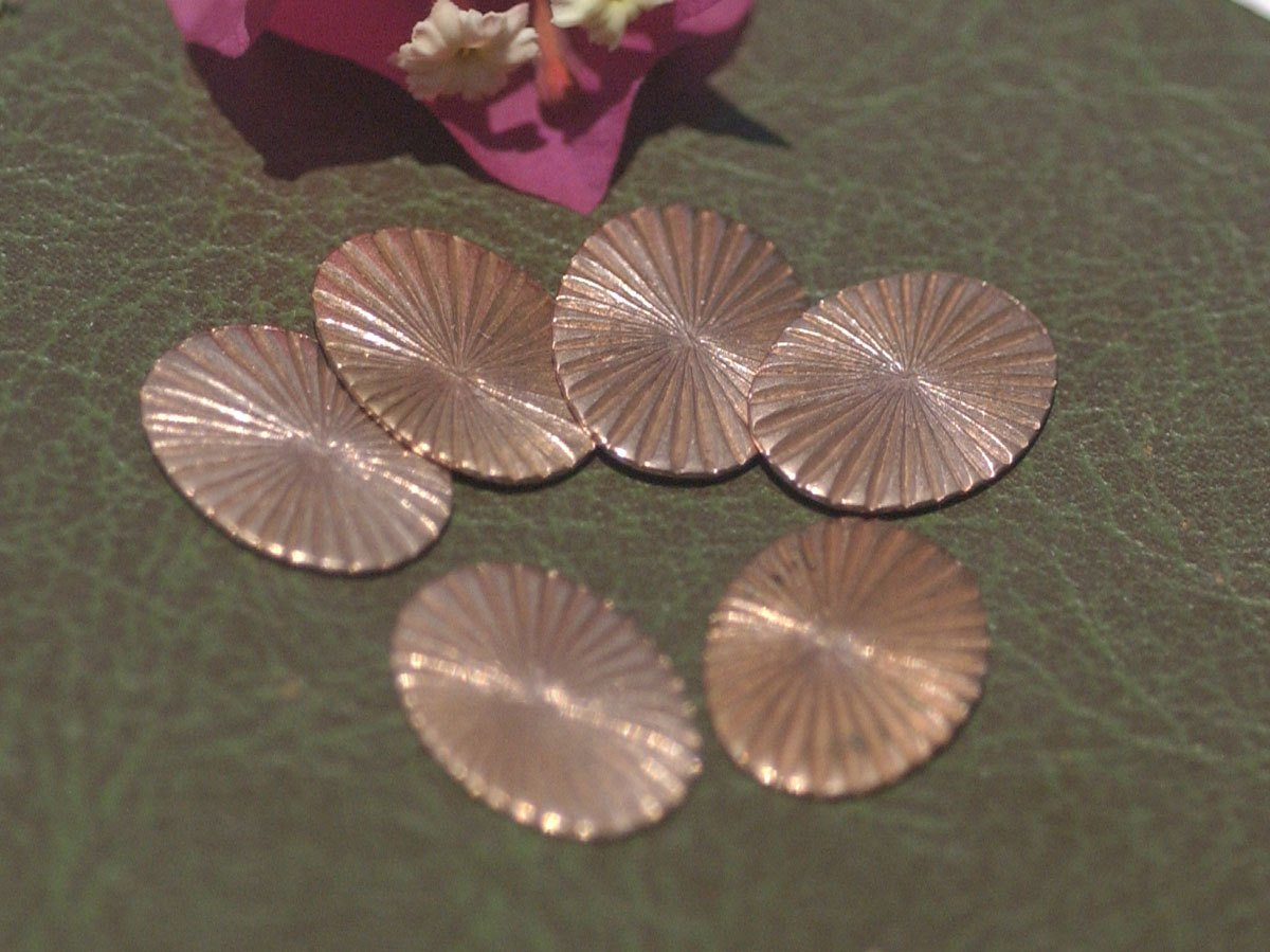 Ruffled Pattern Oval 18mm x 13mm  for Enameling Stamping Texturing Soldering Blanks Variety of Metals - 10 pieces