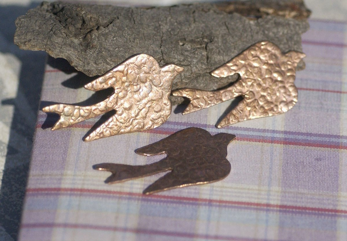 Bird Antique Hammered Pattern 45mm x 23mm Flying Sparrow Swallow for Enameling Stamping Texturing Variety of Metals