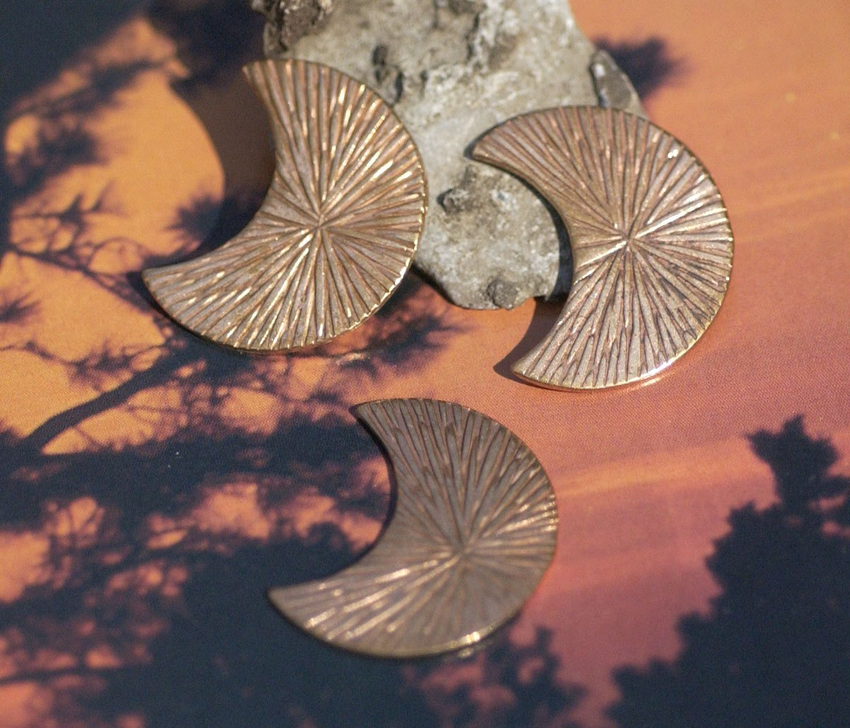Radiating Sun 29.5mm x 23mm Moon Cheshire for Blanks Enameling Stamping Texturing Soldering Variety of Metals