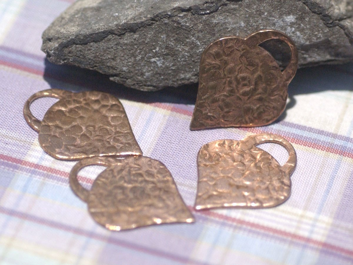 Antique Hammered Pattern Perfect Heart Padlock 28mm x 22mm Metal Shape Form for Metalworking Soldering Blank Variety of Metals - 4 pieces