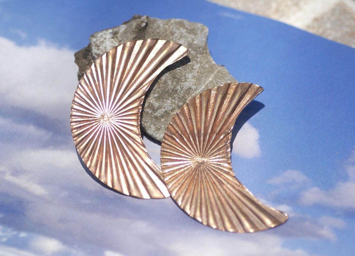 Moon Fantastic Ruffled Pattern 45mm x 30mm Metal Blanks Shape Form Variety of Metals - 2 Pieces