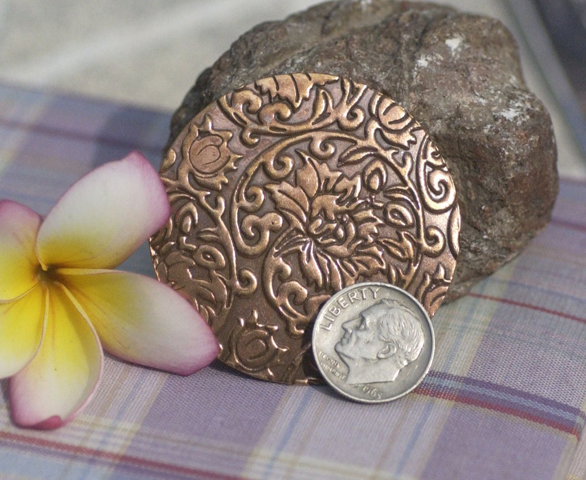Blank 50mm 24G in Lotus Flowers Pattern Jewelry Making Blank, Pendant Blank 24G - 2 Pieces