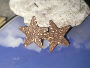 Stars in Lotus Flowers Textured 30mm for Enameling Stamping Texturing Soldering Blanks Variety of Metals