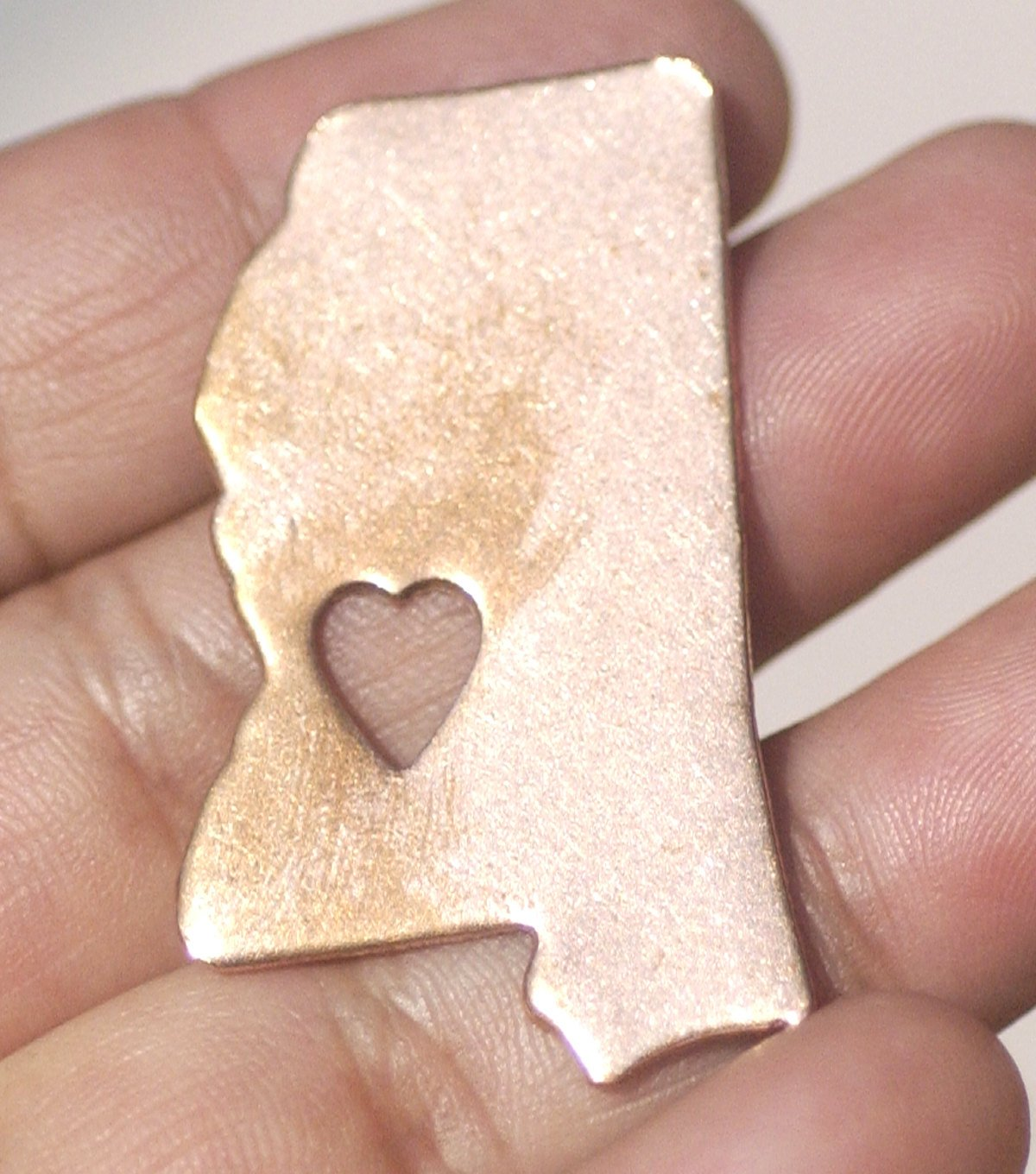 Mississippi State with Large Tiny Heart Cutout for Enameling Metalworking Stamping Texturing 100% Copper Blank - 4 pieces