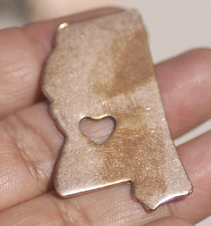Mississippi State with Chubby Heart Cutout for Enameling Metalworking Stamping Texturing 100% Copper Blank