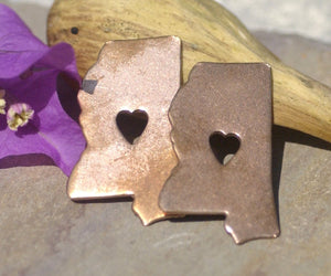 Mississippi State with Tiny Long Heart Cutout for Enameling Metalworking Stamping Texturing 100% Copper Blank - 4 pieces