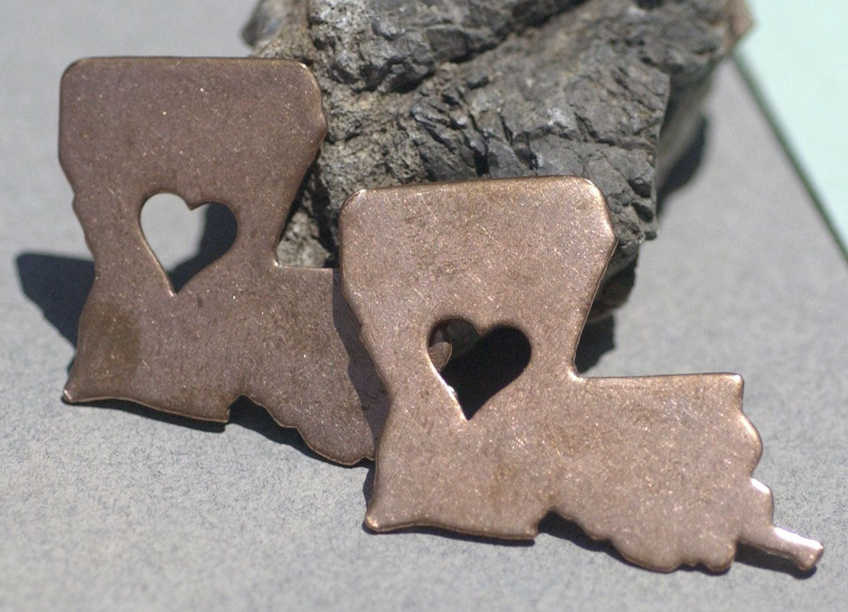 Louisiana State with Heart Perfect Blanks Cutout for Metalworking for Enameling Metalworking Blank Variety of Metals