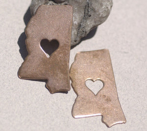 Mississippi State with Heart Perfect Cutout for Enameling Metalworking Stamping Texturing 100% Copper Blank