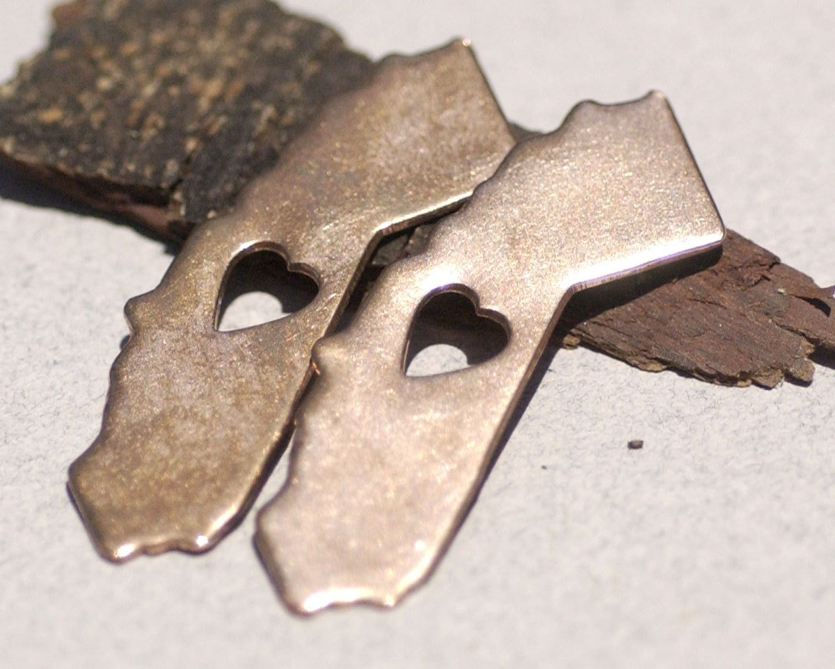 California State With Tiny Long Heart Blanks Cutout for Enameling Metalworking Stamping Texturing - Variety of Metals
