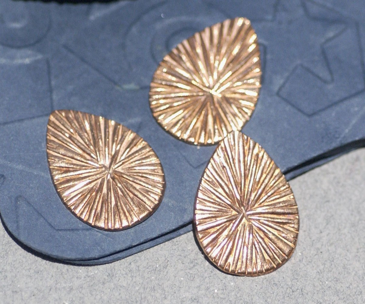 Teardrop Radiating Sun Pattern 21mm x 15mm Metalworking Stamping Texturing Soldering Blanks VAriety of Metals - 6 pieces