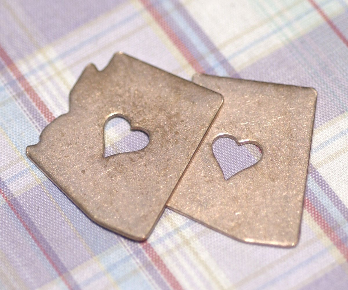 Arizona State Perfect Heart Cutout Blank for Enameling Metalworking Stamping Texturing Blank Variety of Metals