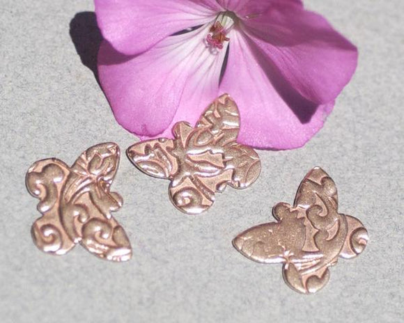 Butterfly Flutterbug 18mm x 14mm Textured Patterns Metal Blanks Shape Form Variety of Metals - 4 pieces