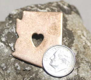 Tiny Long Heart Cutout Arizona State Blank for Enameling Metalworking Stamping Texturing Blank Variety of Metals
