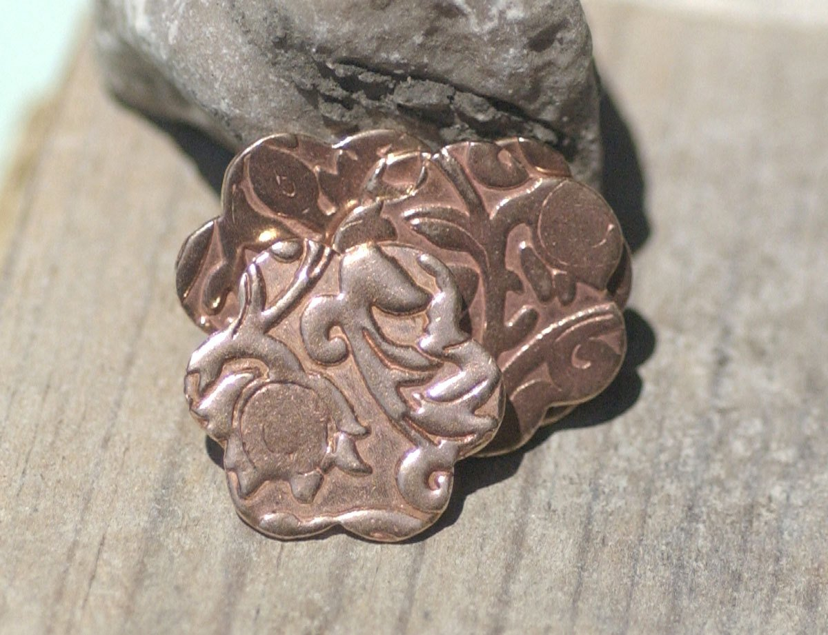 Copper Flower Blank 19.5mm Lotus Flower Pattern  Blank Cutout for Enameling Stamping Texturing Blanks Variety of Metals - 6 pieces