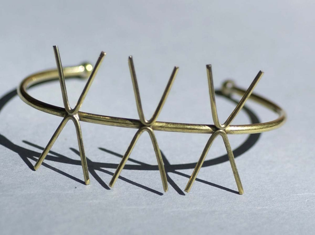 Solid Brass Cuff Bracelet with 4 Prongs - Three Claws for Jewelry Making Supplies