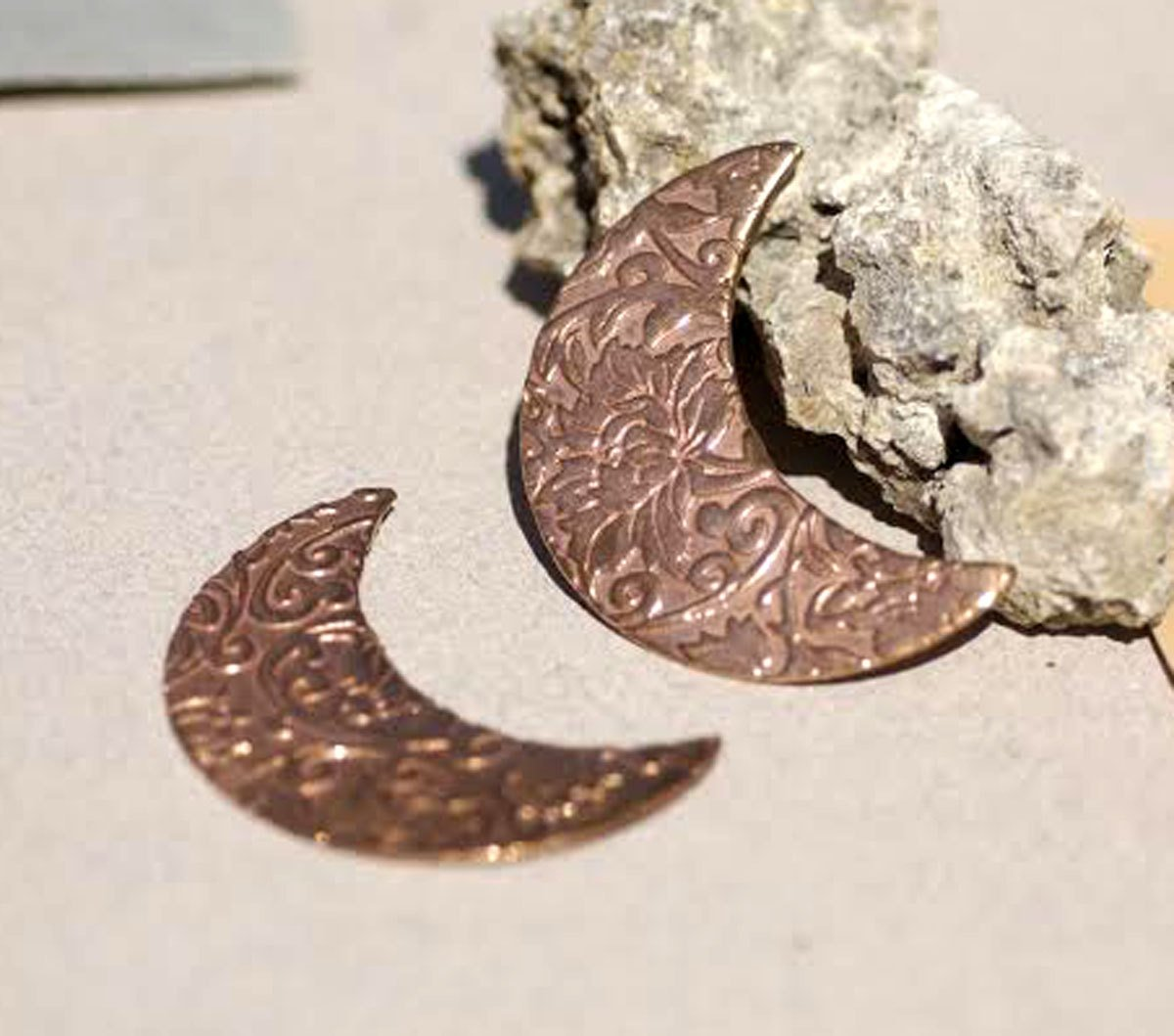Moon with Lotus Flowers Texture Enameling Stamping Texturing Metalworking Blanks - Variety of Metals
