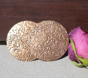 Circle 45mm Lotus Pattern, Cutout for Enameling Stamping Texturing Soldering, Jewelry Charms - 2 Pieces