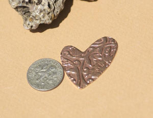 Lopsided Heart 27.5mm x 30.5mm in Textured Patterns Blank - Variety of Metals