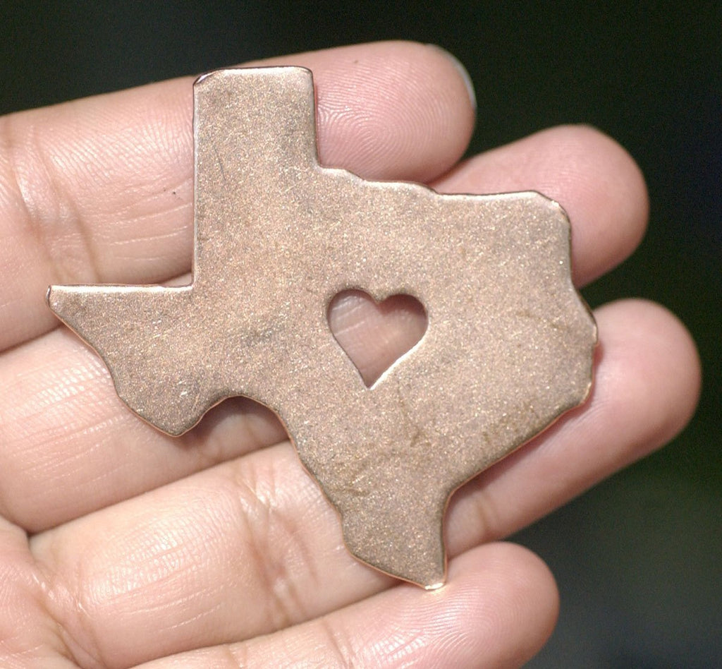 Texas State with Perfect Heart Blanks Cutout for Metalworking Stamping Texturing Blank Variety of Metals
