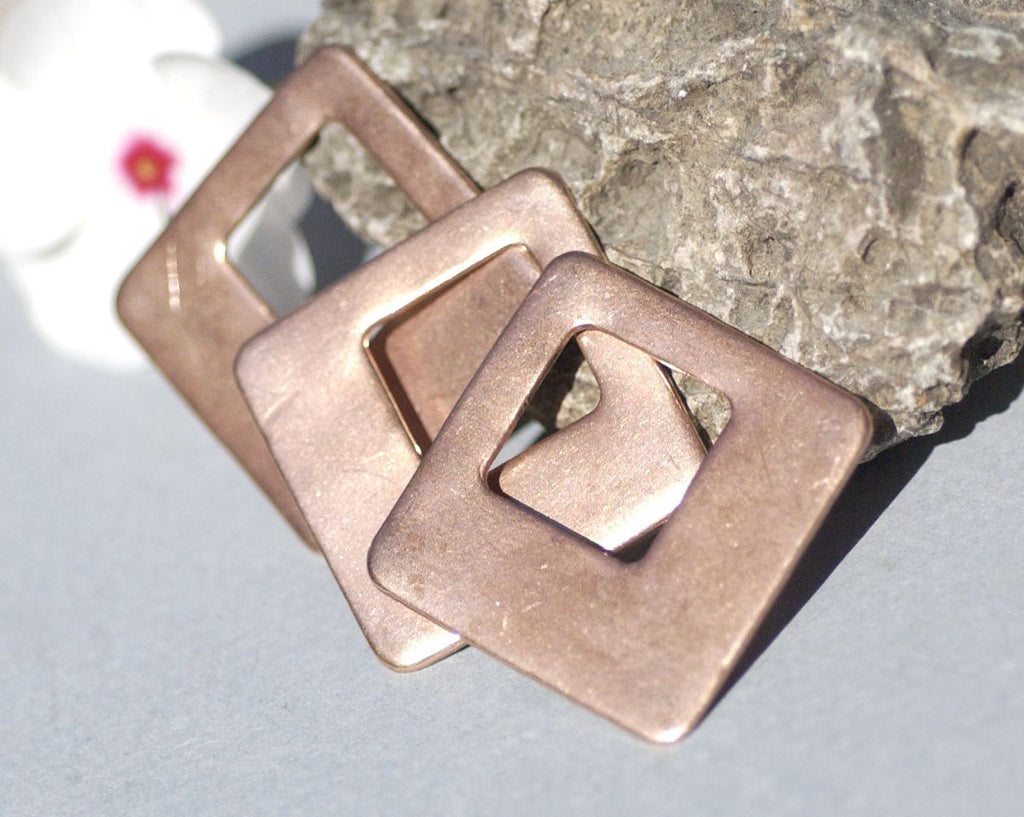 Copper 32mm Square on Square for Enameling Stamping Texturing Jewelry  Making