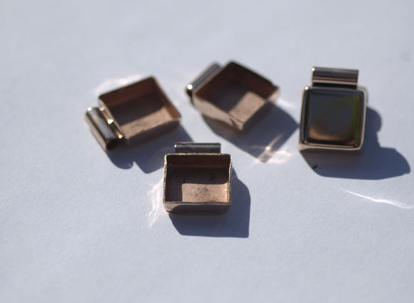 Tube Pendant Setting Copper Bezel Cups - 24g - 13mm Square Blanks with Cutout for Enameling