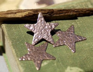 Star 31mm Antique Hammered Cutout Blanks for Enameling Metalworking Soldering Stamping Texturing Blank - Variety of Metals