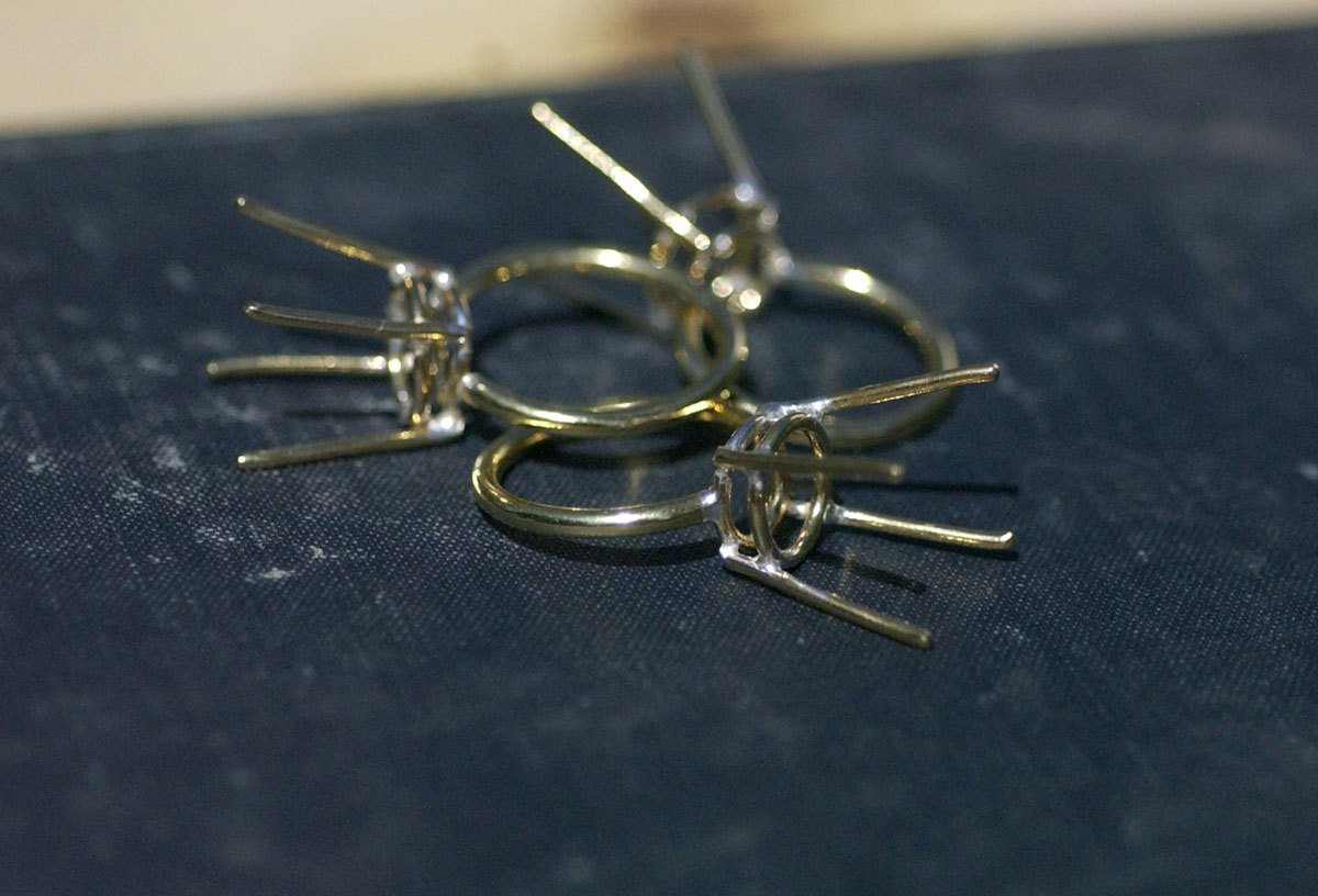 Brass Ring Handmade Soldered Prongs For Stones or Whatever size-Variety