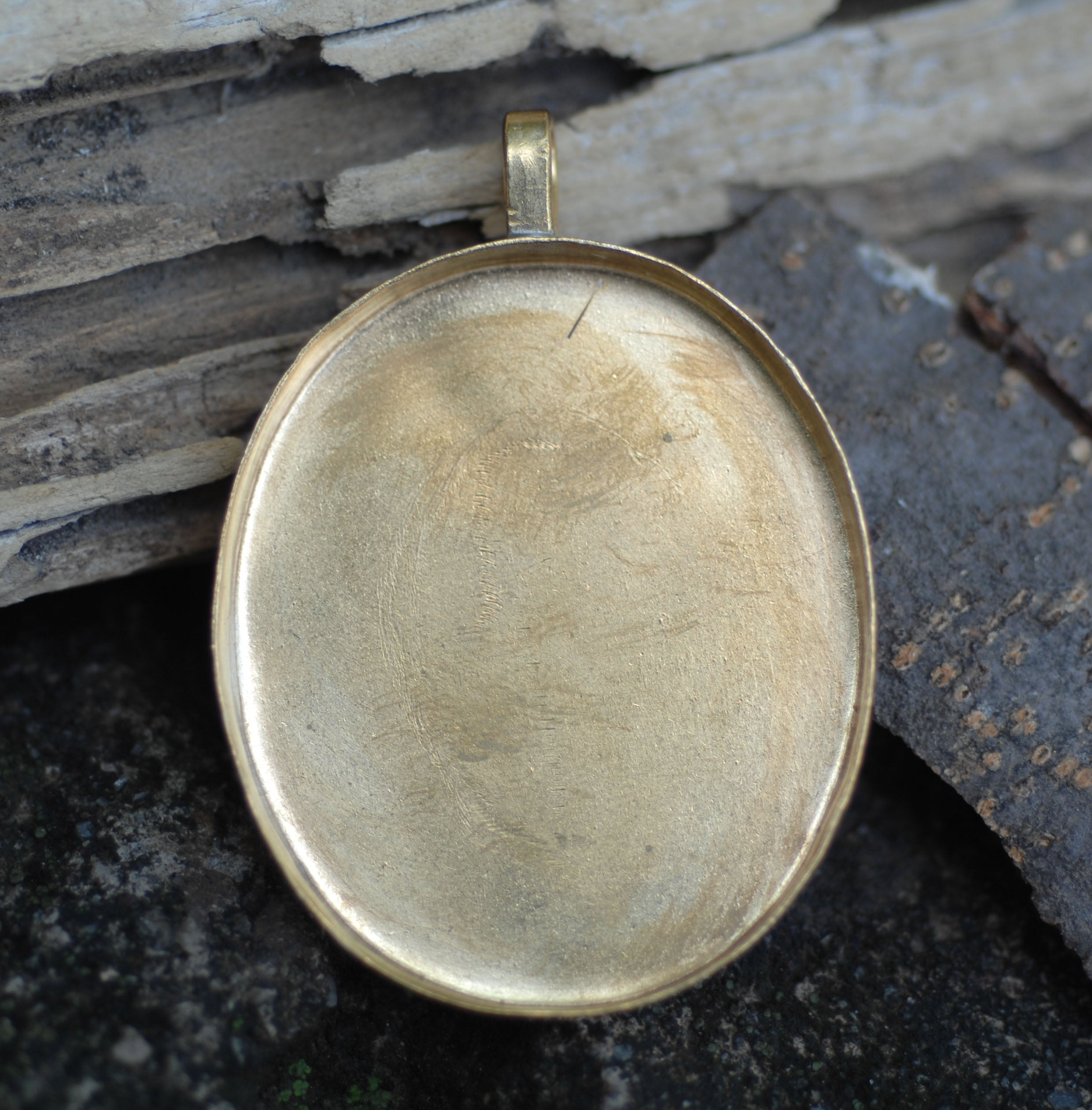 Bezel Cup Pendant for Resin Jewelry - Large Oval Pendant 50mm by 36mm