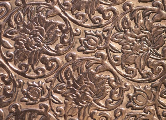 lotus flower textured sheet metal in copper