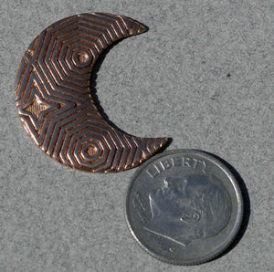 Moon in Textured Pattern Metal 25mm x 21mm Cutout