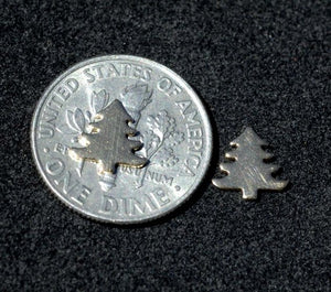 Tiny metal Pine Tree blanks, Mini Christmas Trees