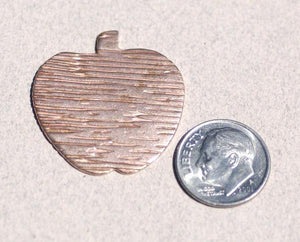 Large Apple in Textured Pattern Metal 28mm x 30mm
