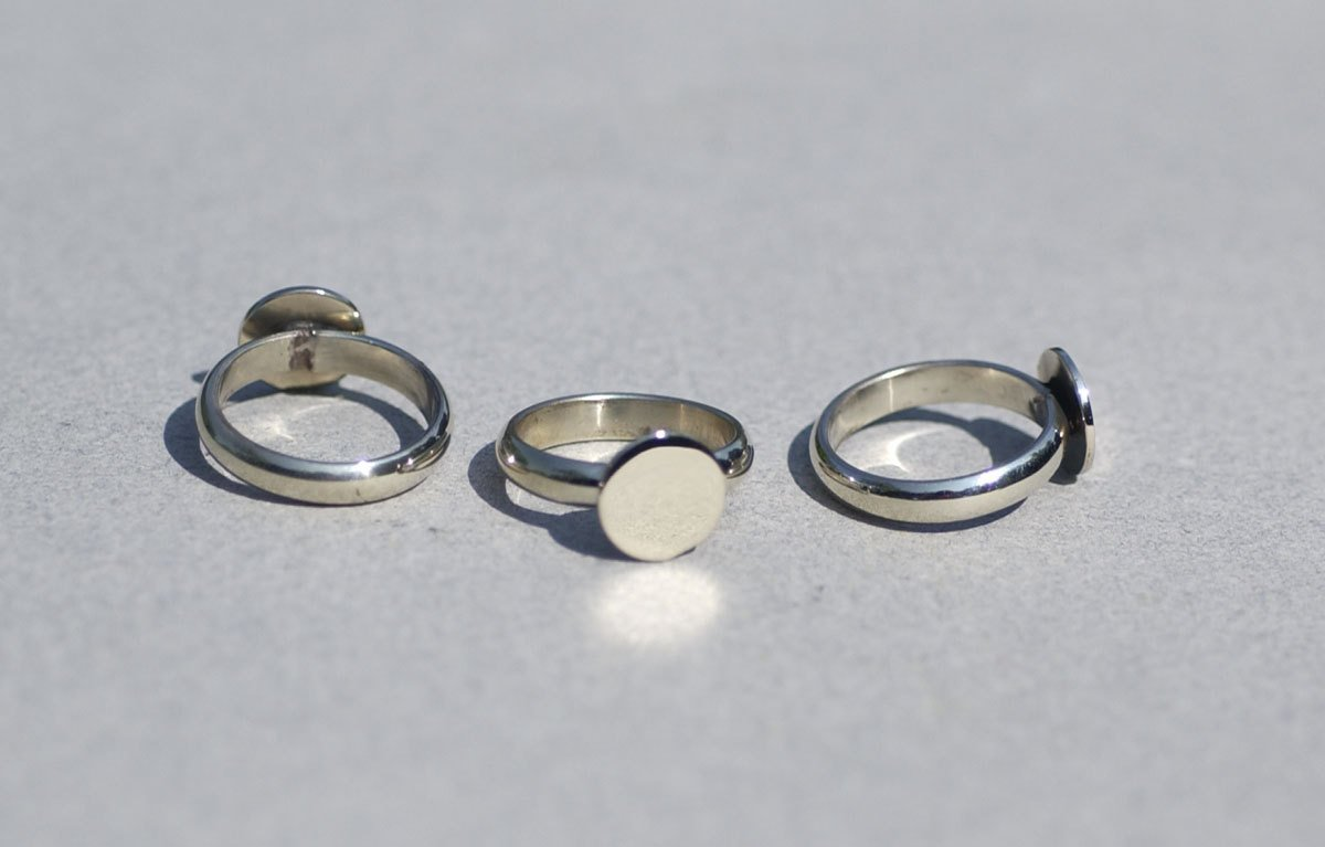 Ring with 11mm Round Glue Pad for Gluing - Handmade Ring Blanks, DIY Ring