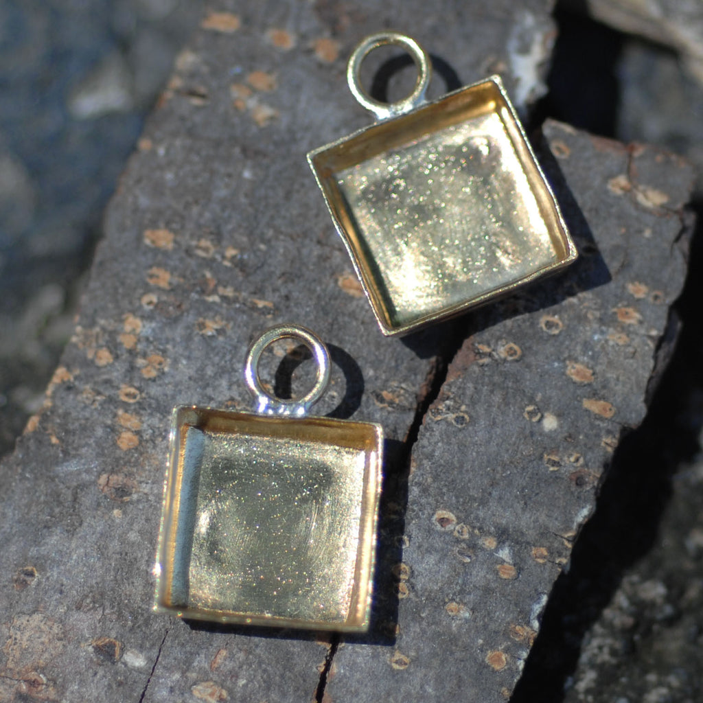 Bezel Cup Setting for Resin Jewelry - Square Charms 18mm by 13mm