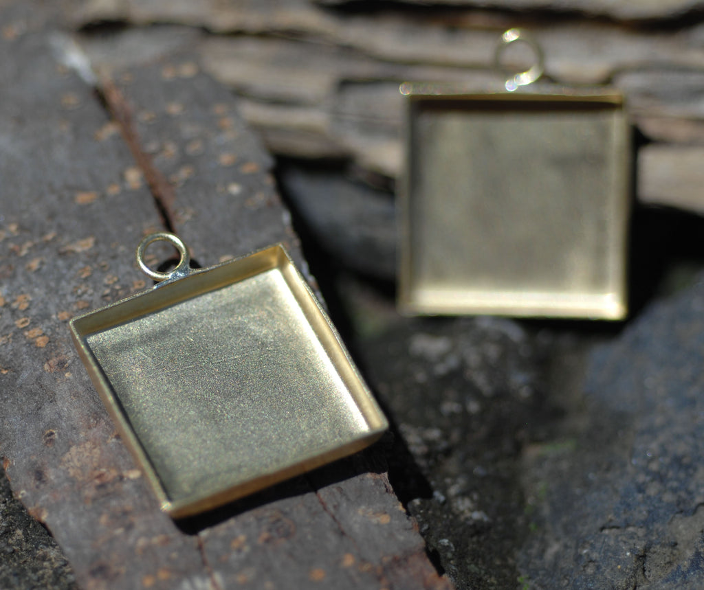 Bezel Cup Setting for Resin Jewelry - Square Charms 26mm by 21mm