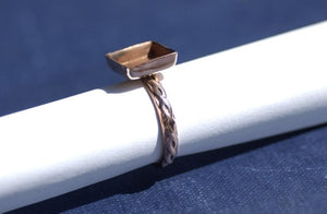 Buy Square Bezel Cup Ring with Textured Vine Shank, 10mm square cup online