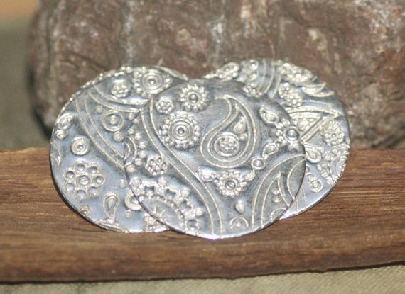 Sterling Silver Paisley Textured Disc 25mm 26g