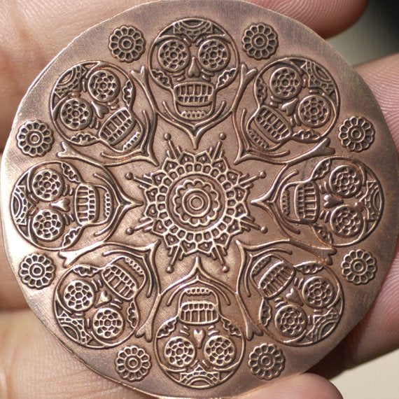 Sugar Skull Flower Metal Disc Blank 42mm, 20G