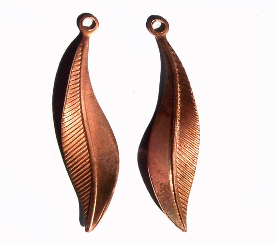 copper leaf charm textured leaves for jewelry