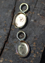 Bezel Cup Setting for Resin Jewelry - Tiny Oval Charms 14mm by 6.5mm
