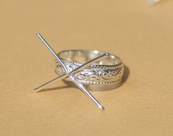 Buy Handmade Claw Ring 100% Sterling Silver For Stone Setting, 4 Round prongs, Vine Textured Shank online