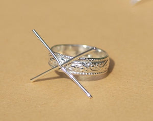 Handmade Claw Ring 100% Sterling Silver For Stone Setting, 4 Round prongs, Vine Textured Shank