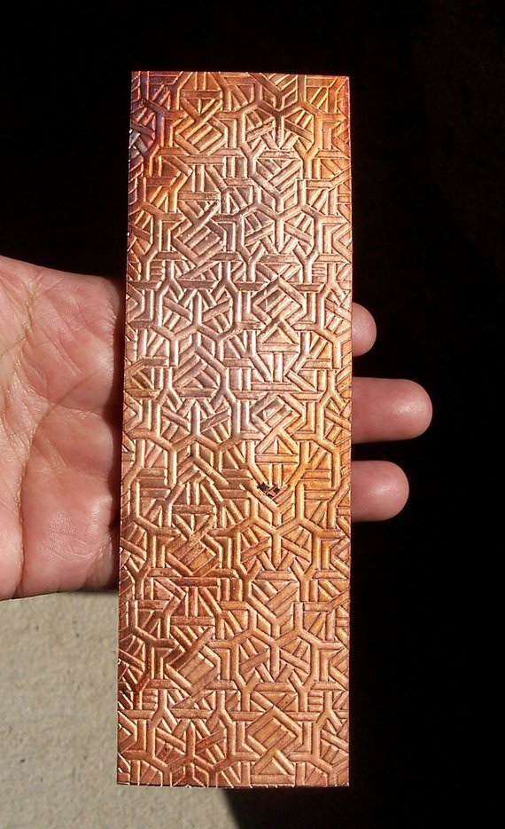 Geometric pattern textured sheet metal in copper