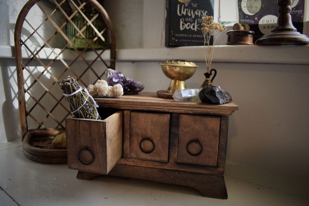 RITUAL WOODEN HERB CHEST | 3-DRAWERS | ALTAR HERB BOX