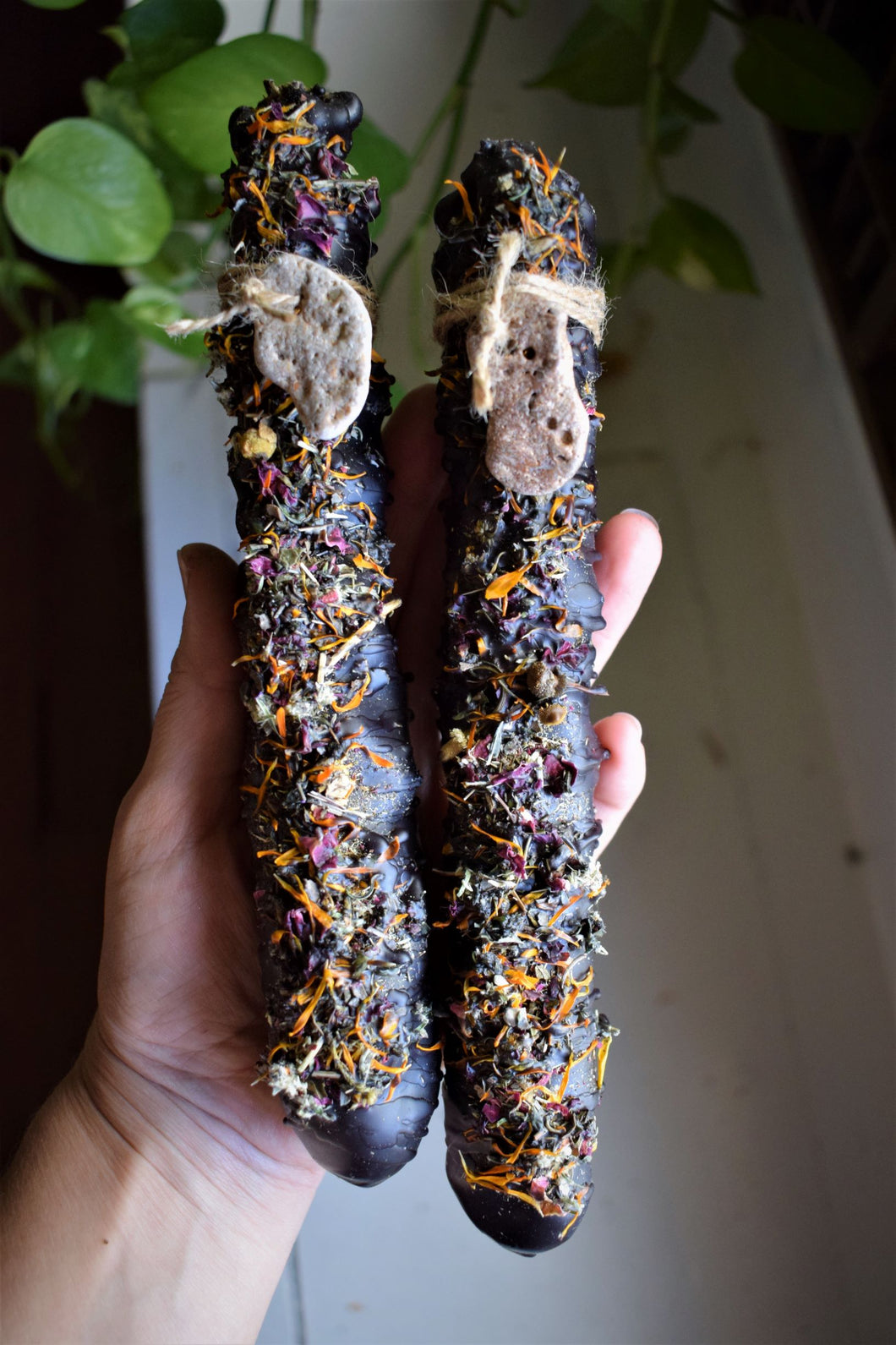 ANCESTORS WITCHES CANDLE | MULLEIN CANDLE | MULLEIN TORCH | HAG TAPERS | HAG STONE